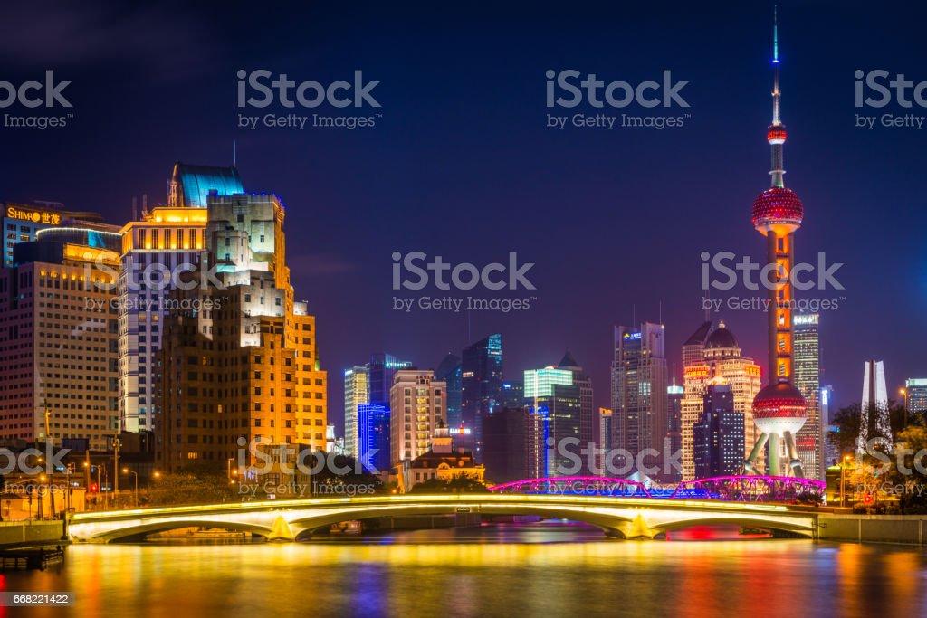 Shanghai neon night city Oriental Pearl Tower skyscraper skyline China stock photo