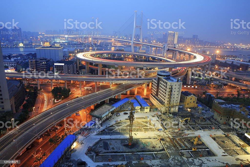 shanghai night scene of nanpu bridge royalty-free stock photo