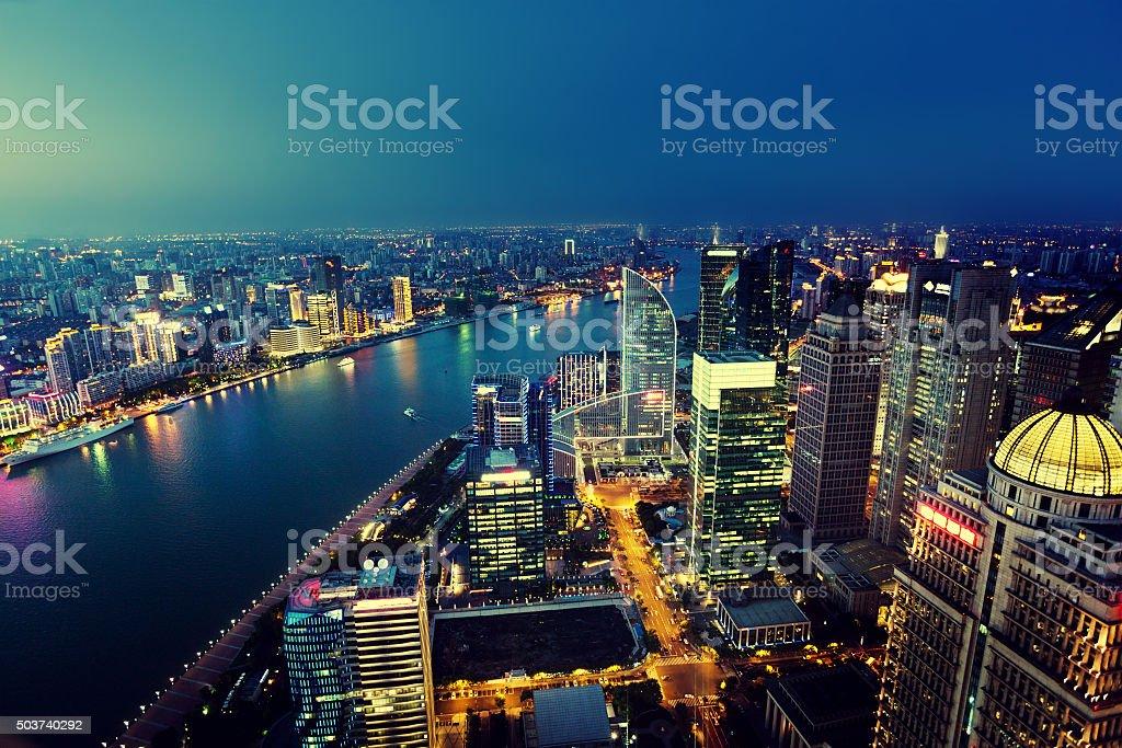 Shanghai night view, China stock photo