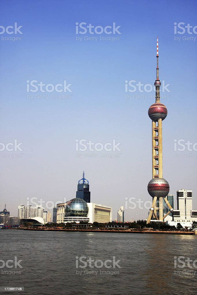 Shanghai Oriental Pearl Tower and Huangpu River royalty-free stock photo