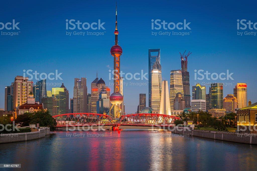Shanghai Oriental Pearl Tower Waibaidu bridge Pudong skyscrapers illuminated China stock photo