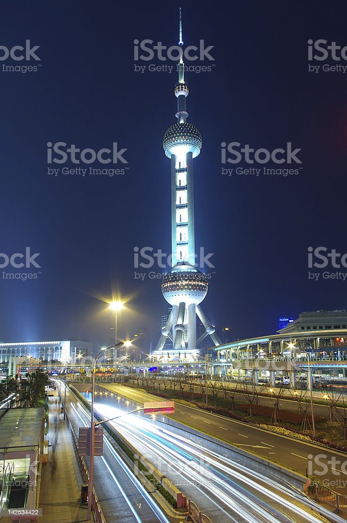 Shanghai Oriental Pearl traffic stock photo