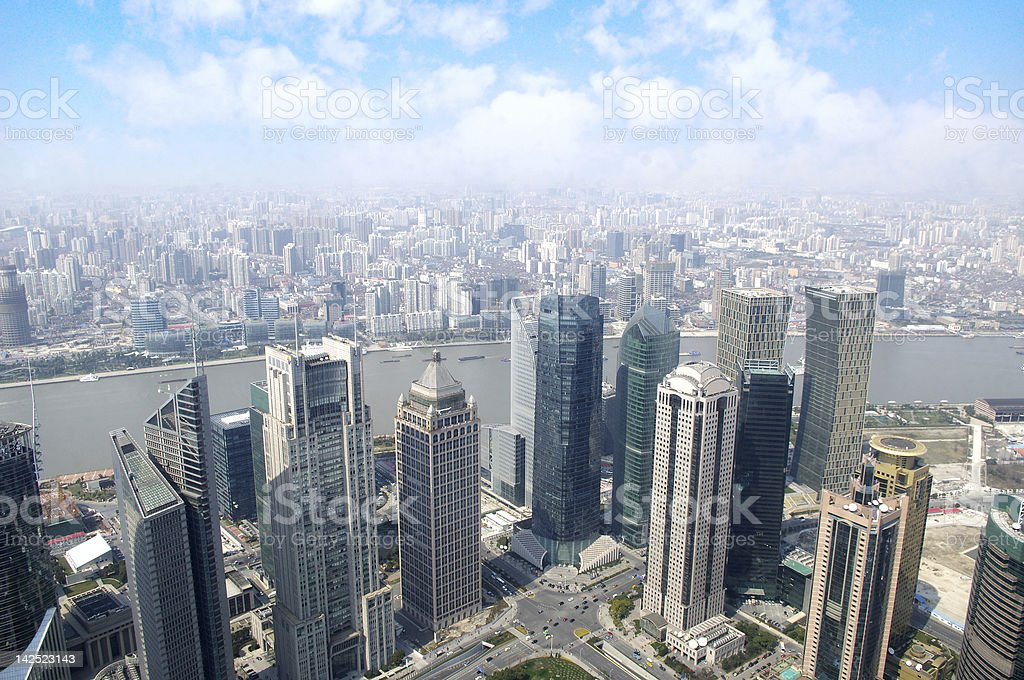 Shanghai overlooking the royalty-free stock photo