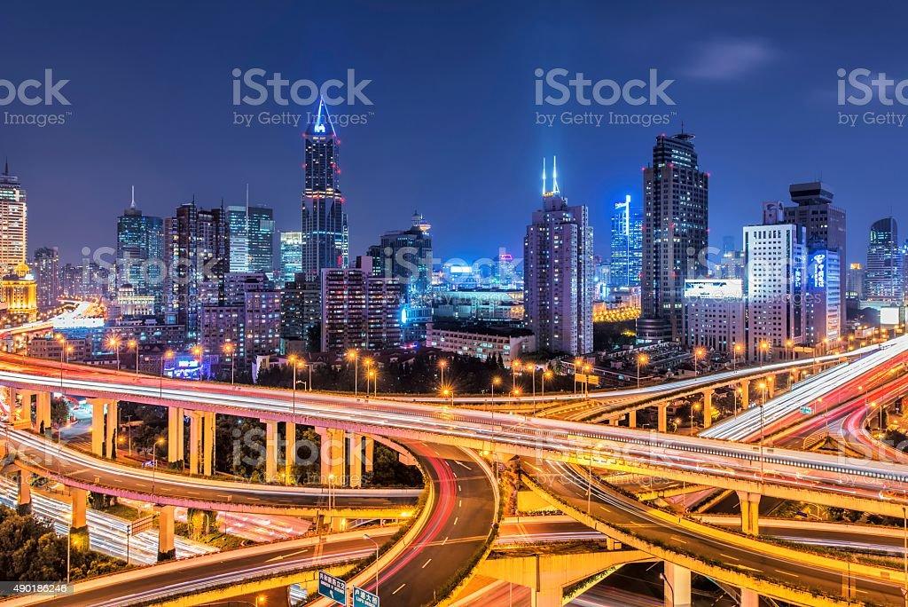 Shanghai overpass and skyline stock photo