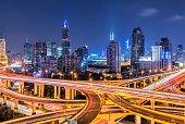 Shanghai overpass and skyline