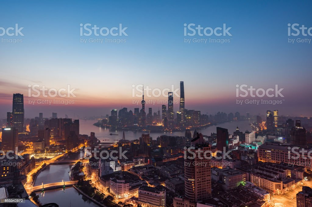 Shanghai Panorama at Dawn stock photo