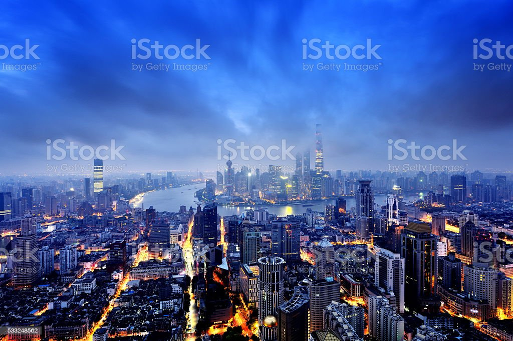 Shanghai Panoramic Skyline stock photo