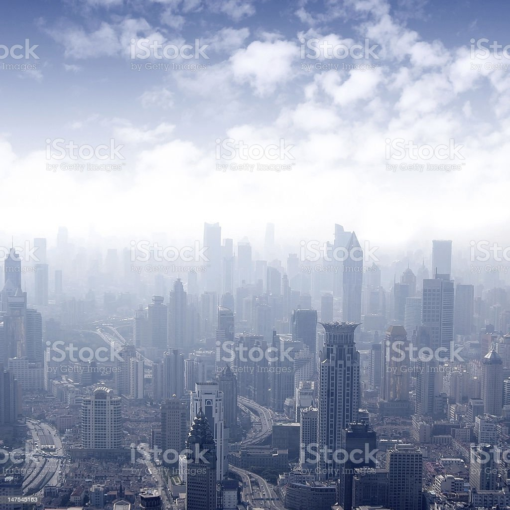 Shanghai panoramic view overlooking the royalty-free stock photo