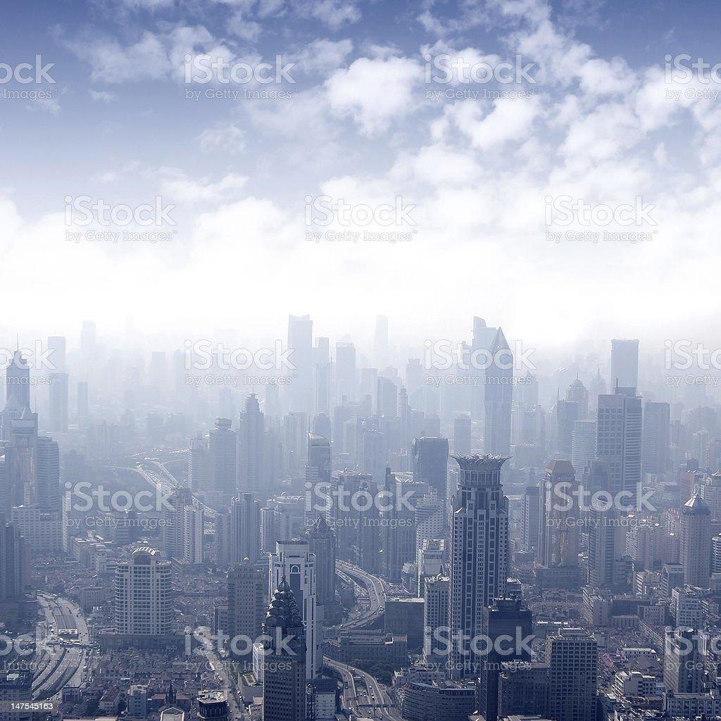 Shanghai panoramic view overlooking the stock photo
