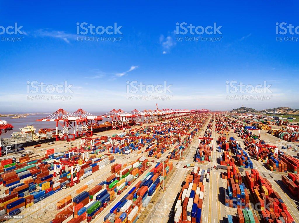 Shanghai Port Container stock photo