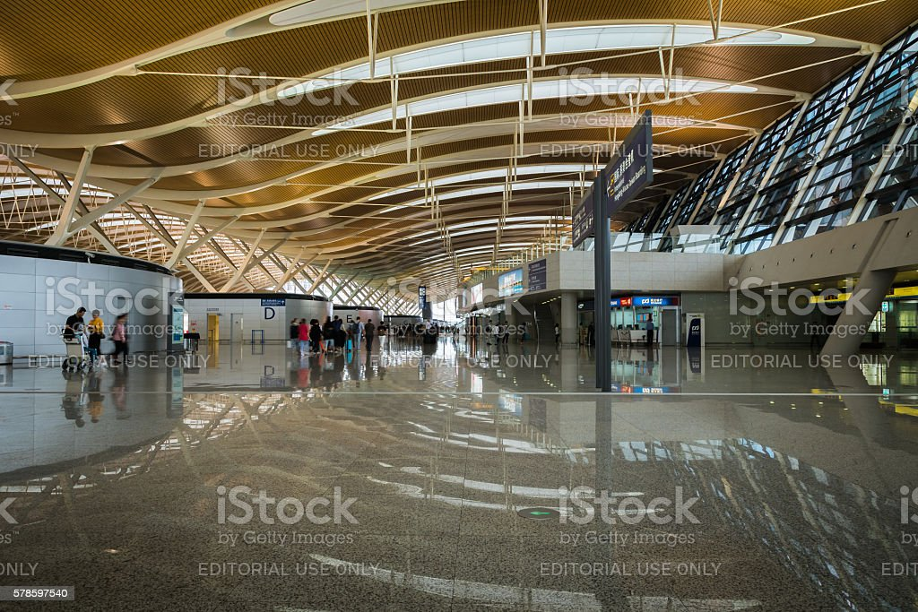 Shanghai Pudong Airport architecture in departure terminal, China stock photo