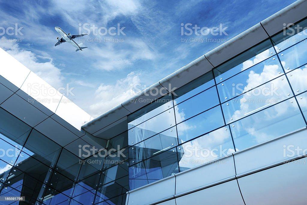 Shanghai Pudong Airport's aircraft royalty-free stock photo