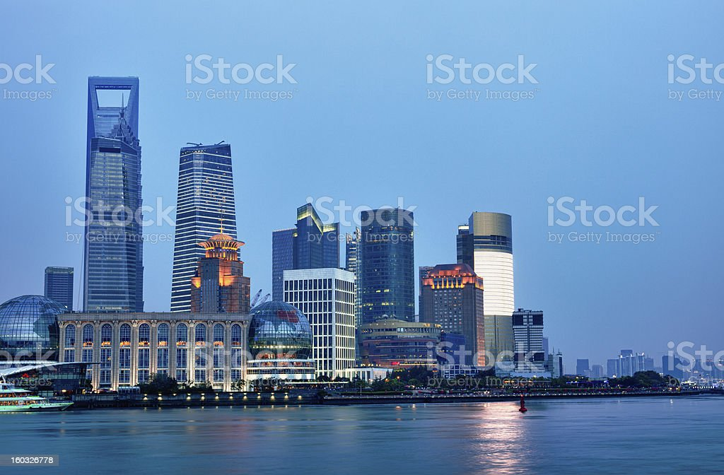 Shanghai Pudong cityscape viewed from the Bund royalty-free stock photo
