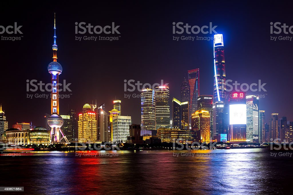 Shanghai Pudong cityscape viewed from the Bund stock photo