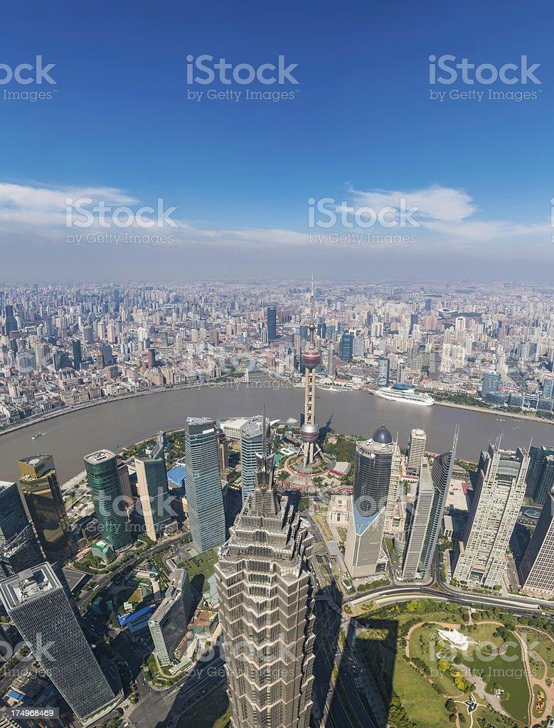 Shanghai Pudong landmarks The Bund Oriental Pearl Tower China stock photo