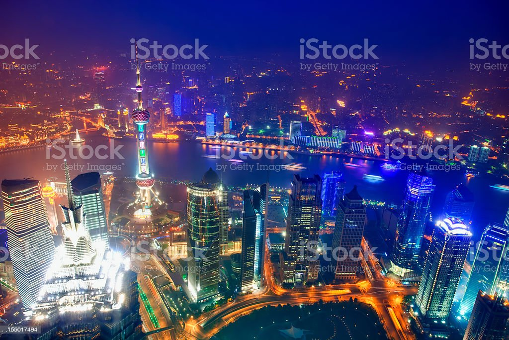 Shanghai Pudong skyline, Aerial view royalty-free stock photo