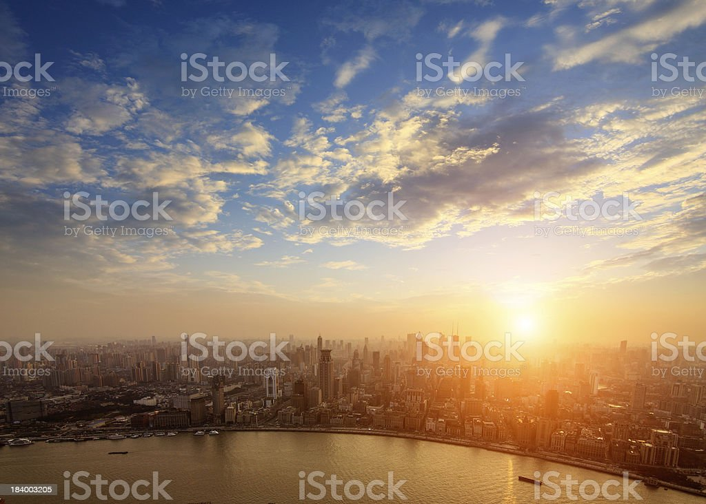 shanghai pudong skyline at sunset royalty-free stock photo