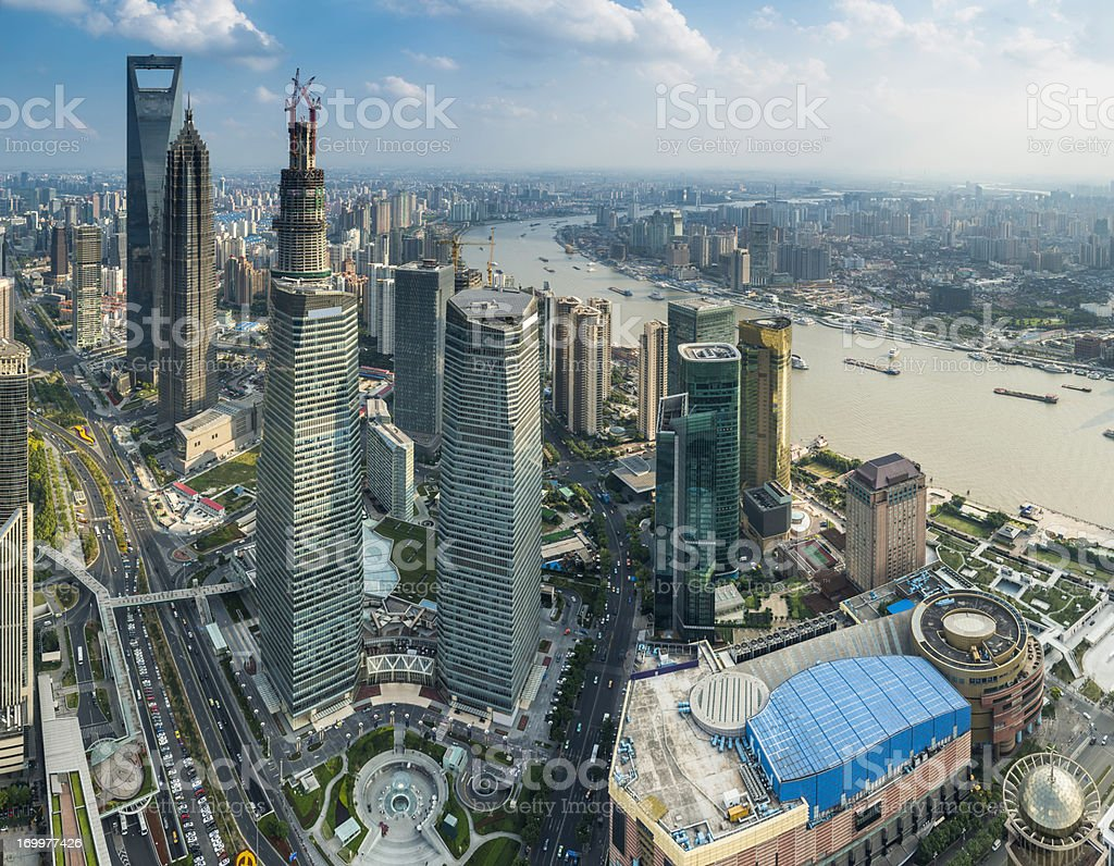 Shanghai Pudong skyscrapers futuristic cityscape aerial view China royalty-free stock photo