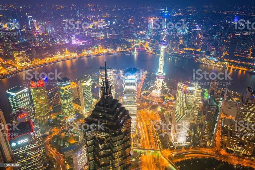 Shanghai Pudong skyscrapers The Bund neon lights night cityscape China stock photo