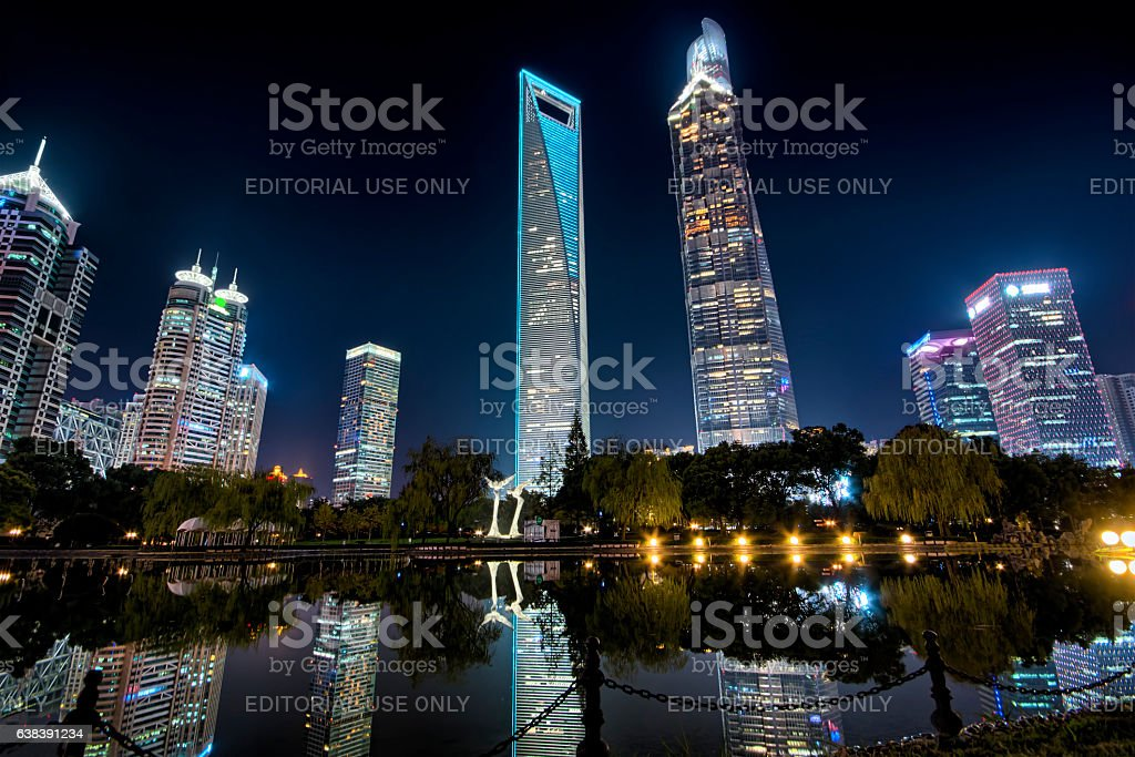 Shanghai Pudong supertall skyscrapers at night stock photo
