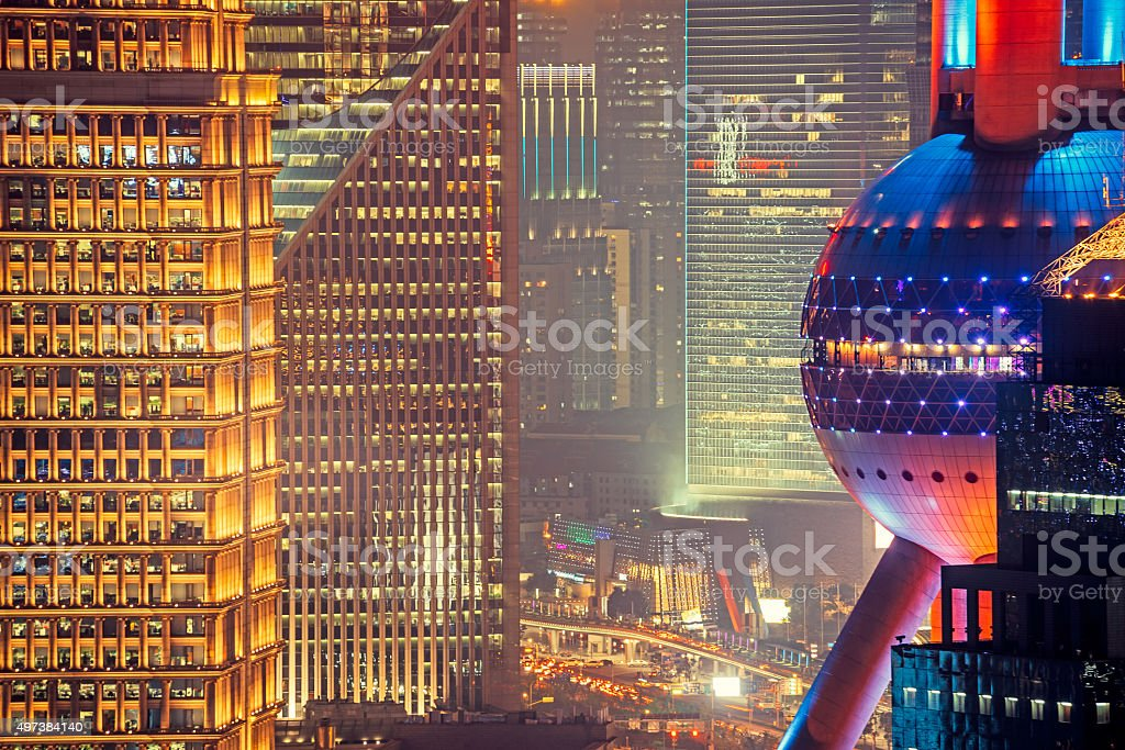 Shanghai Pudong with Oriental Pearl Tower stock photo