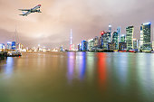 Shanghai skyline and modern cityscape at night