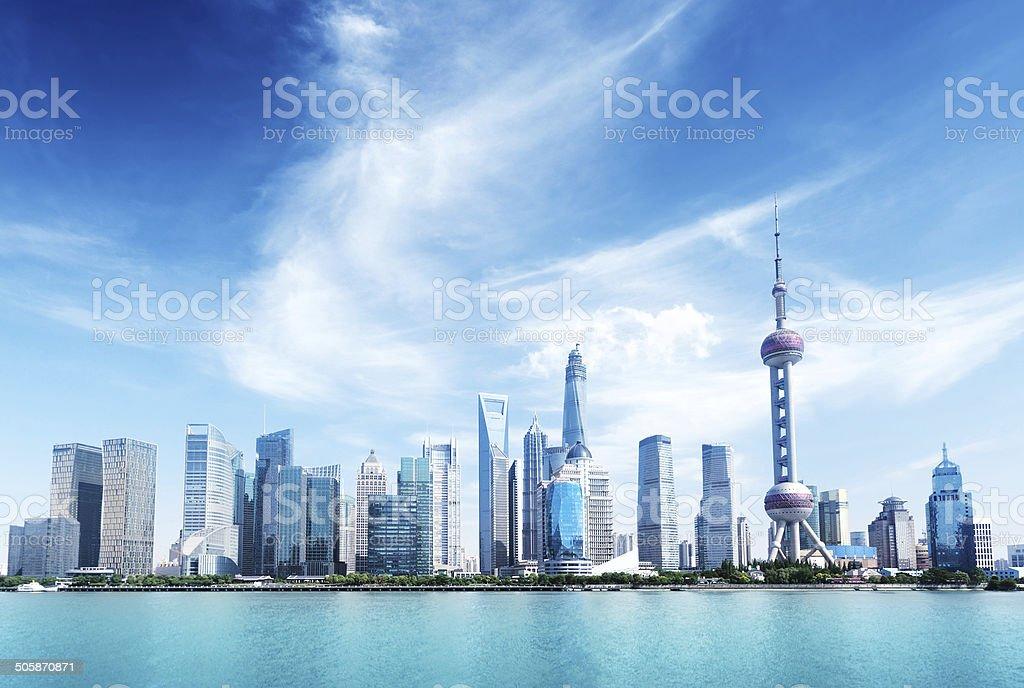 Shanghai skyline and sunny day stock photo