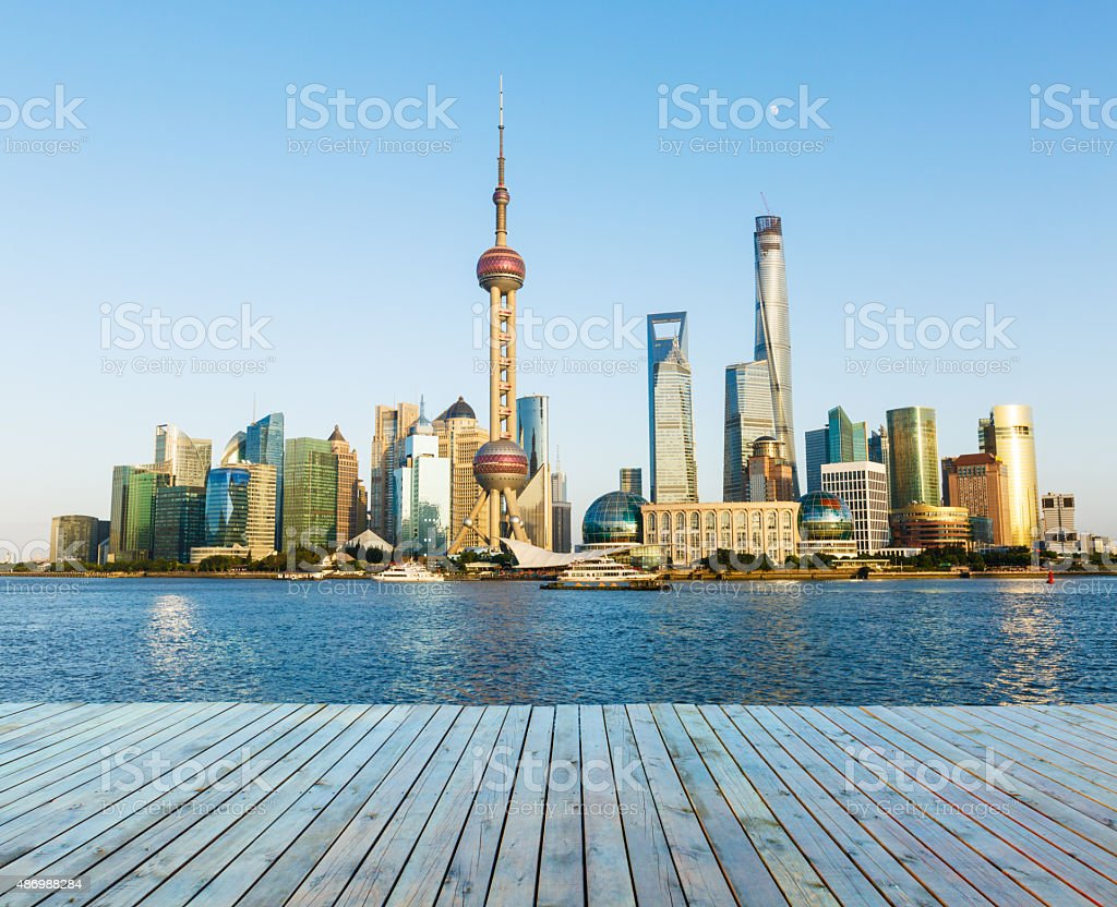 Shanghai skyline and wooden platform,in China stock photo