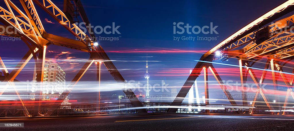 shanghai skyline at night royalty-free stock photo