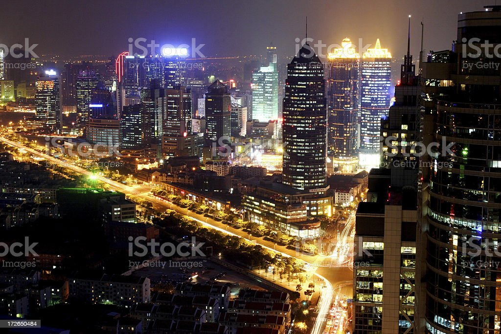 Shanghai Skyline at Night royalty-free stock photo