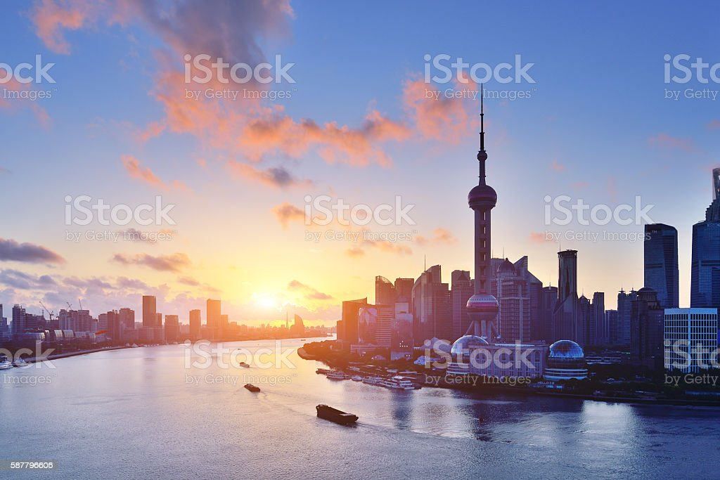 Shanghai Skyline at Sunrise stock photo