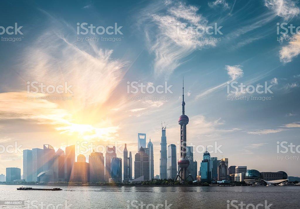shanghai skyline in sunny morning stock photo
