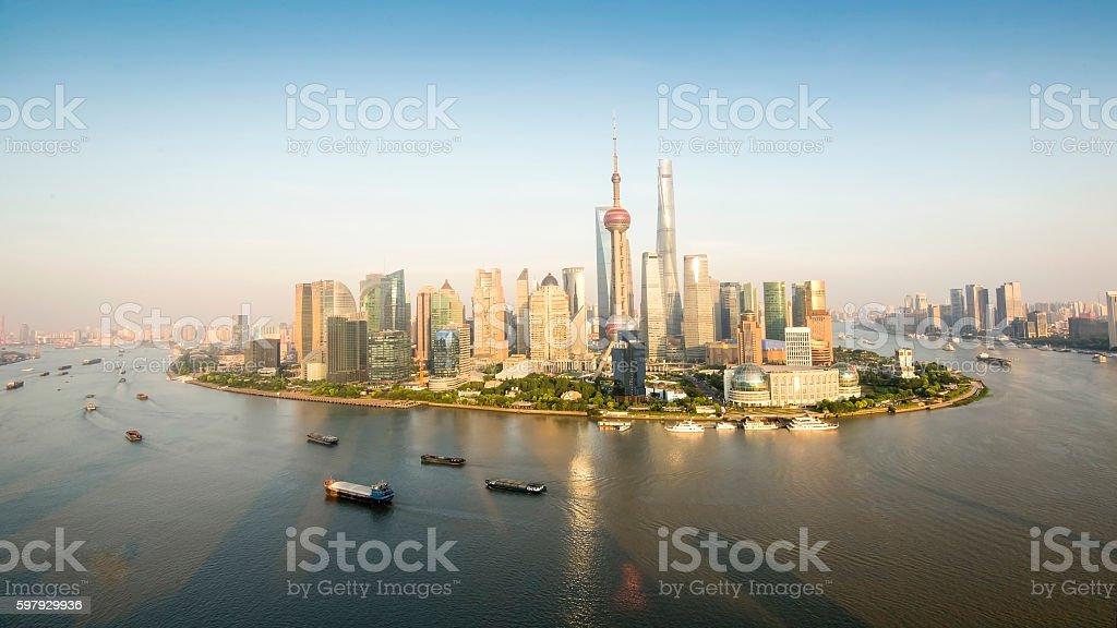 shanghai skyline in sunrise, bird's eye view stock photo