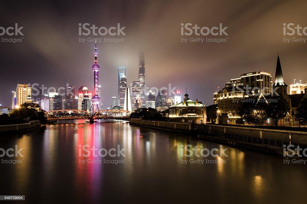 Shanghai Skyline in the night stock photo
