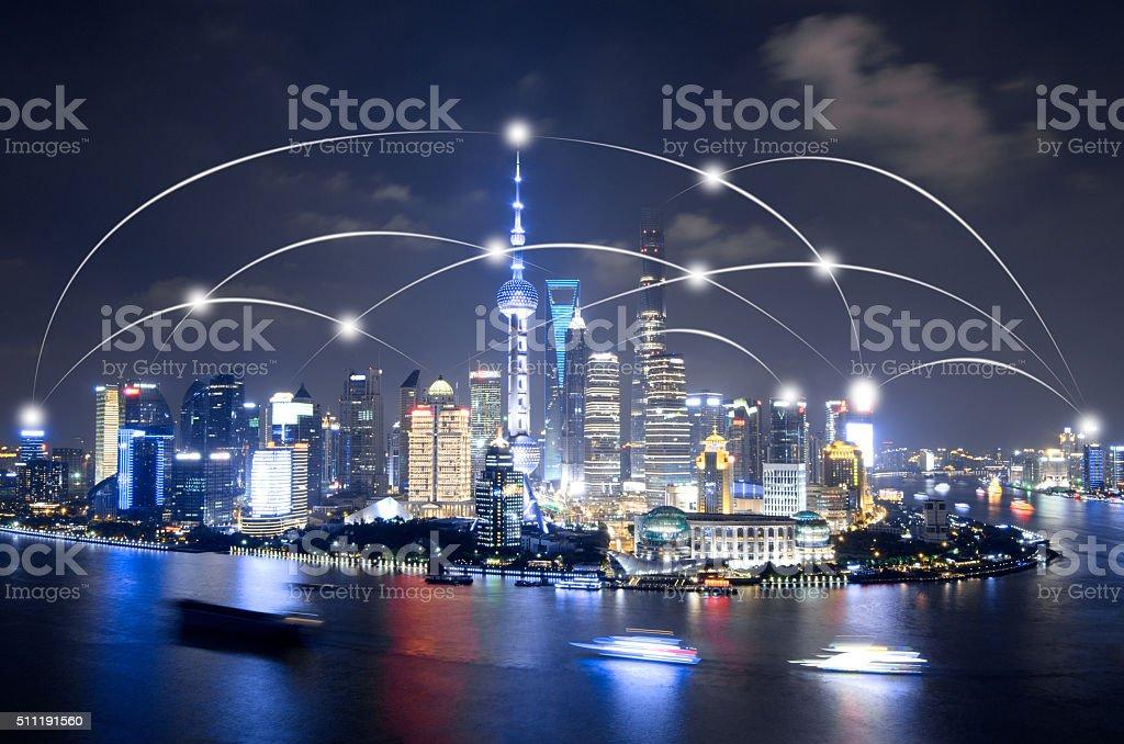 Shanghai Skyline - network connection stock photo