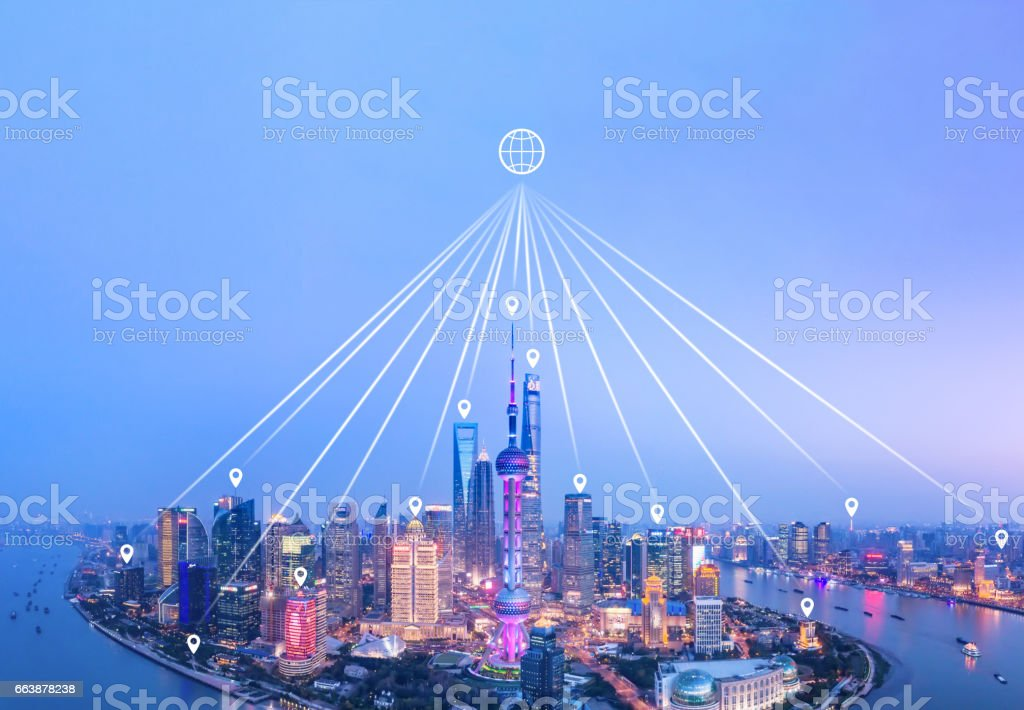 Shanghai skyline network technology stock photo