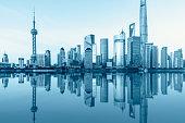 Shanghai skyline on the Huangpu River at night