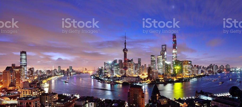 Shanghai Skyline Panoramic at Dawn stock photo
