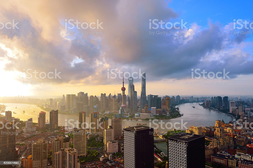 Shanghai Skyline Panoramic at Sunrise stock photo