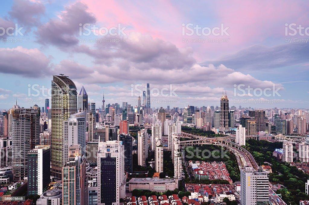 Shanghai Skyline Panoramic at Sunset stock photo