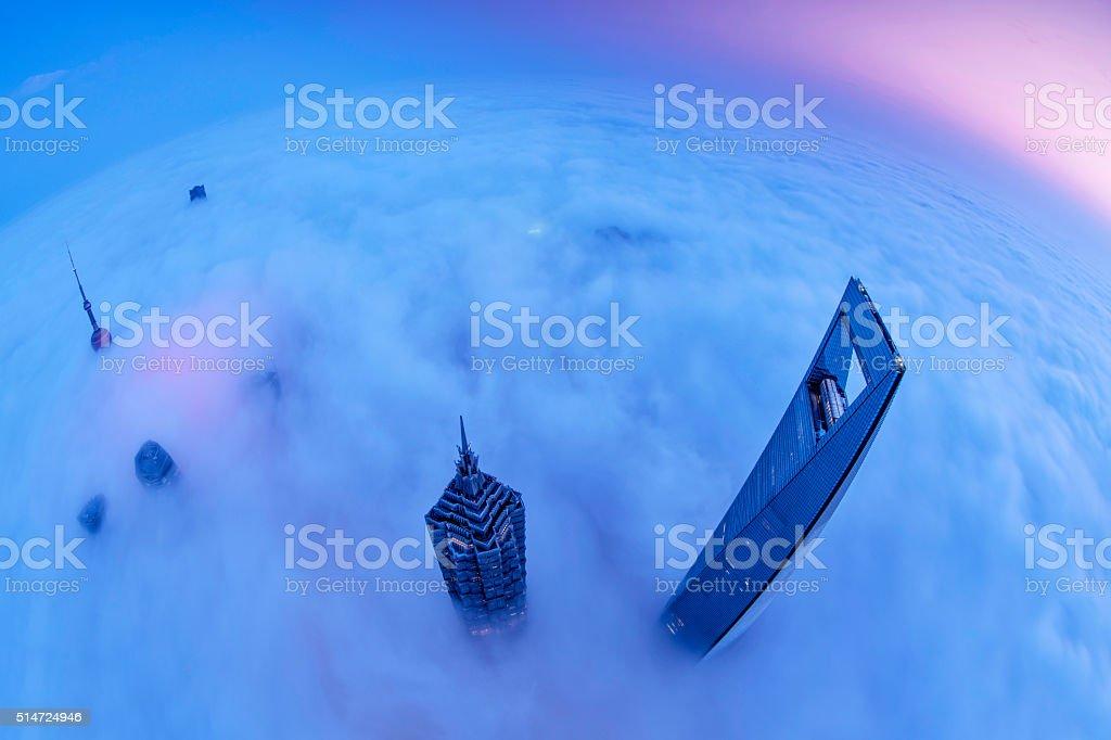 Shanghai Skyline Sunrise stock photo