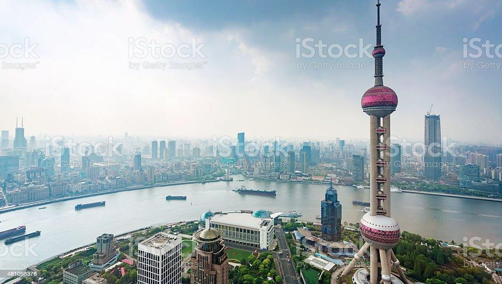 Shanghai Skyline, The Bund from Above stock photo