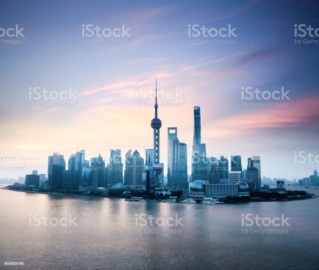 shanghai skyline with morning glow stock photo