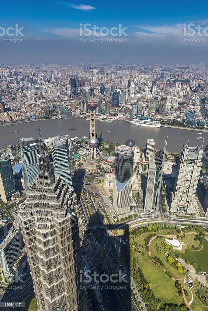 Shanghai spires and skyscrapers aerial view over Pudong China royalty-free stock photo