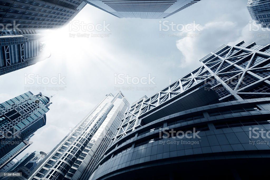 Shanghai stock exchange and surrounding buildings stock photo