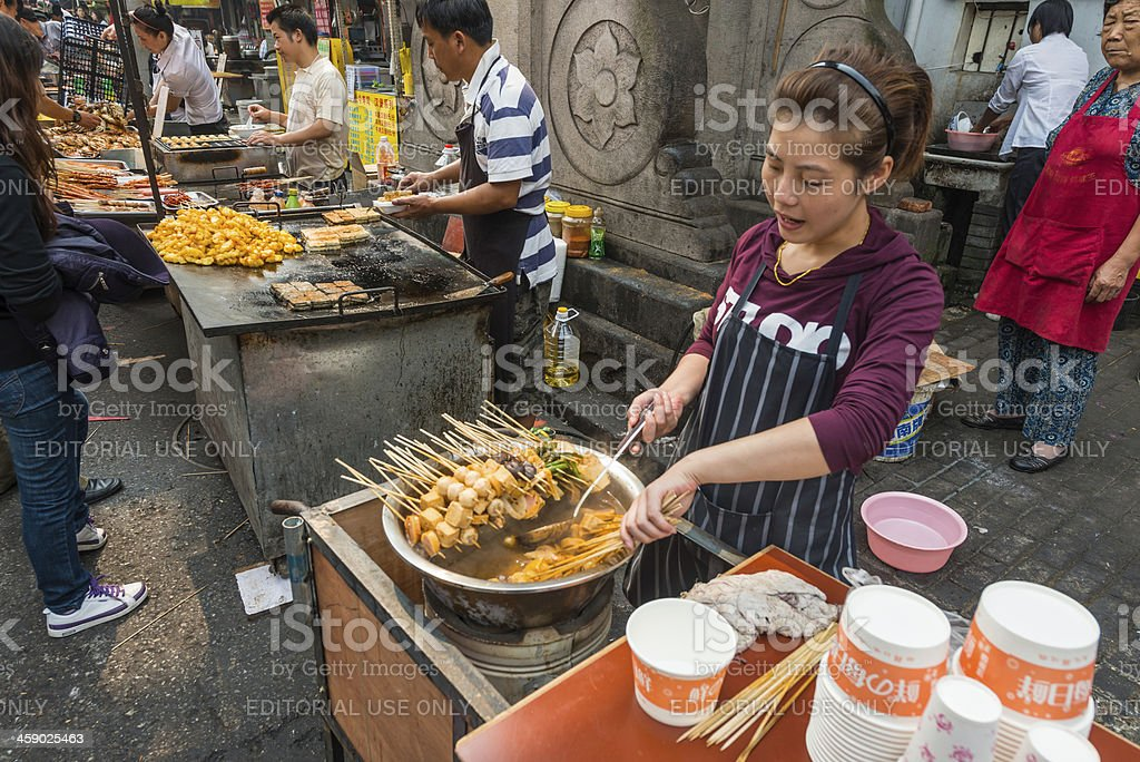 Shanghai street food sellers busy market China stock photo