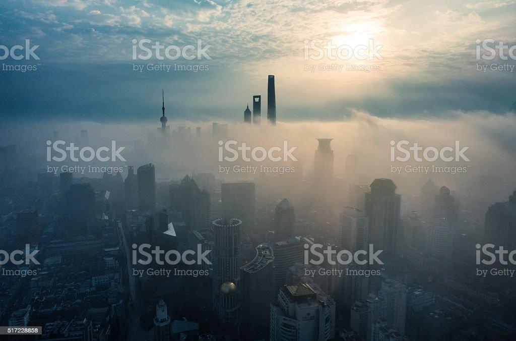 Shanghai sunrise stock photo