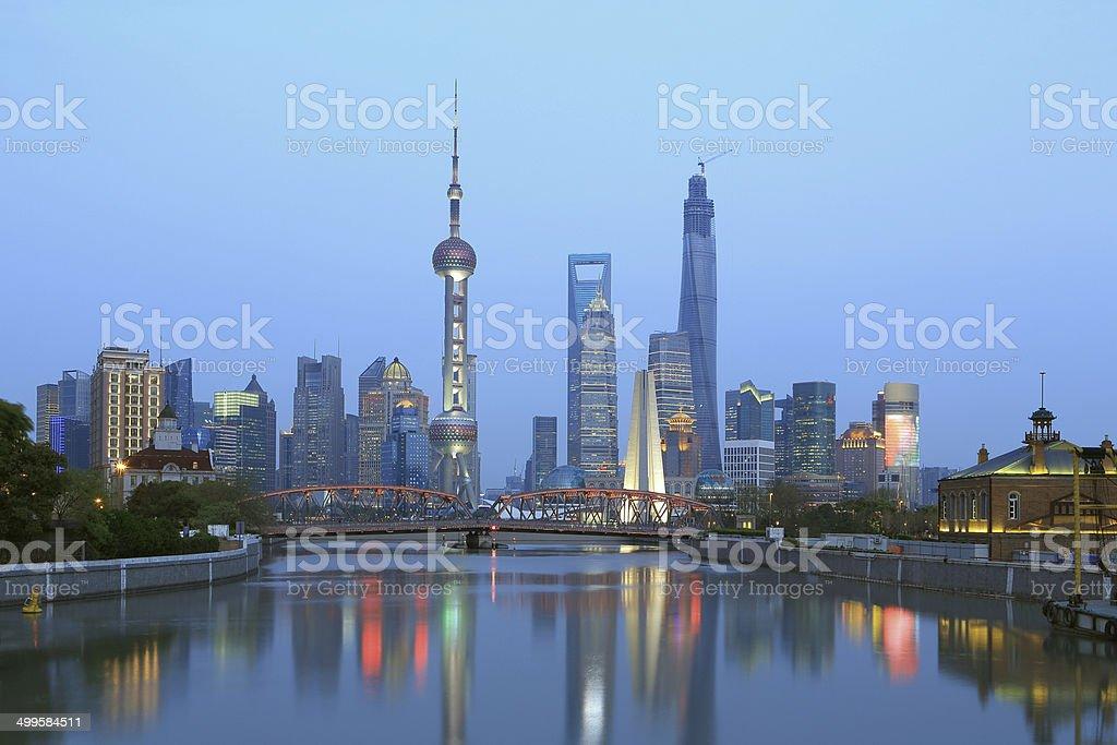 Shanghai the bund night view stock photo