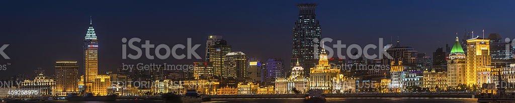 Shanghai The Bund waterfront landmarks illuminated at night China royalty-free stock photo