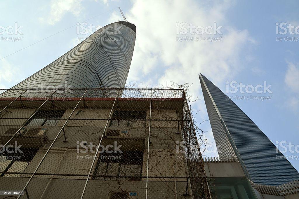 Shanghai Tower and Shanghai World Financial Center stock photo